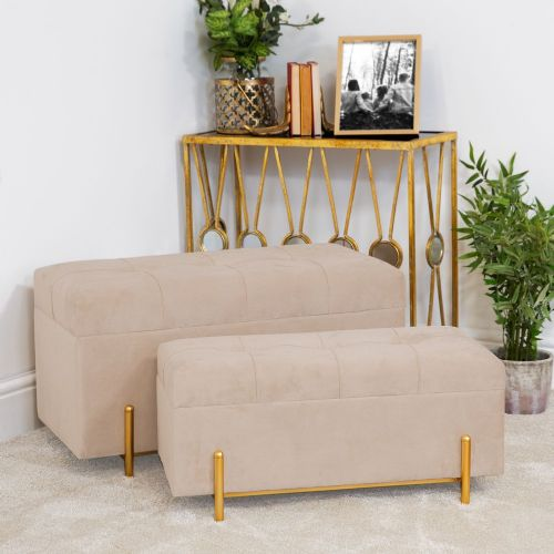 Set of 2 Champagne Velvet Storage Benches With Satin Brass Trim